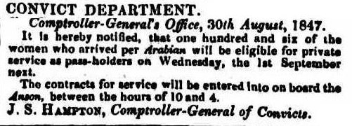 Convicts Eligible for Service, Colonial Times, 31 August 1847, National Library of Australia (Trove)