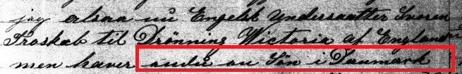 Written in Danish, this section appears to read: 'endnu en Søn i Danmark' which translates to 'another son in Denmark'.