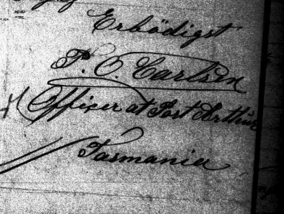 Signature of P.O Carlsen, Officer at Port Arthur, Tasmania